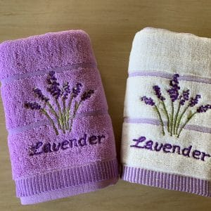 Embroidery lavender hand towels